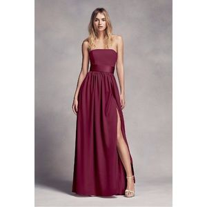 Wine red David's Bridal Strapless Bridesmaid Dress